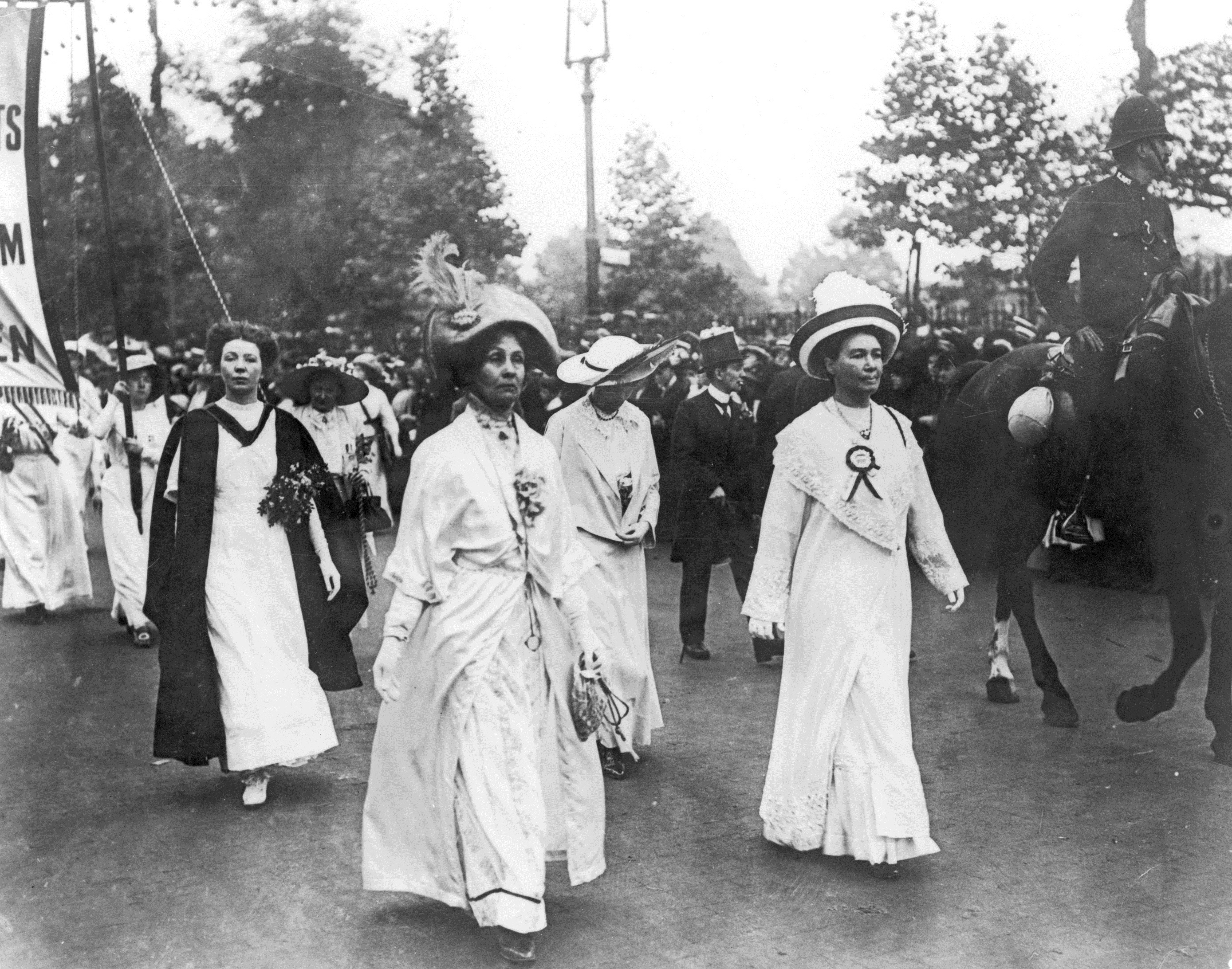 Christabel Pankhurst, Emmeline Pankhurst and Emmeline Pethick-Lawrence on a march © The Women's Library