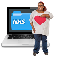 woman with NHS laptop
