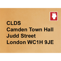 an envelope with Camden's postal address