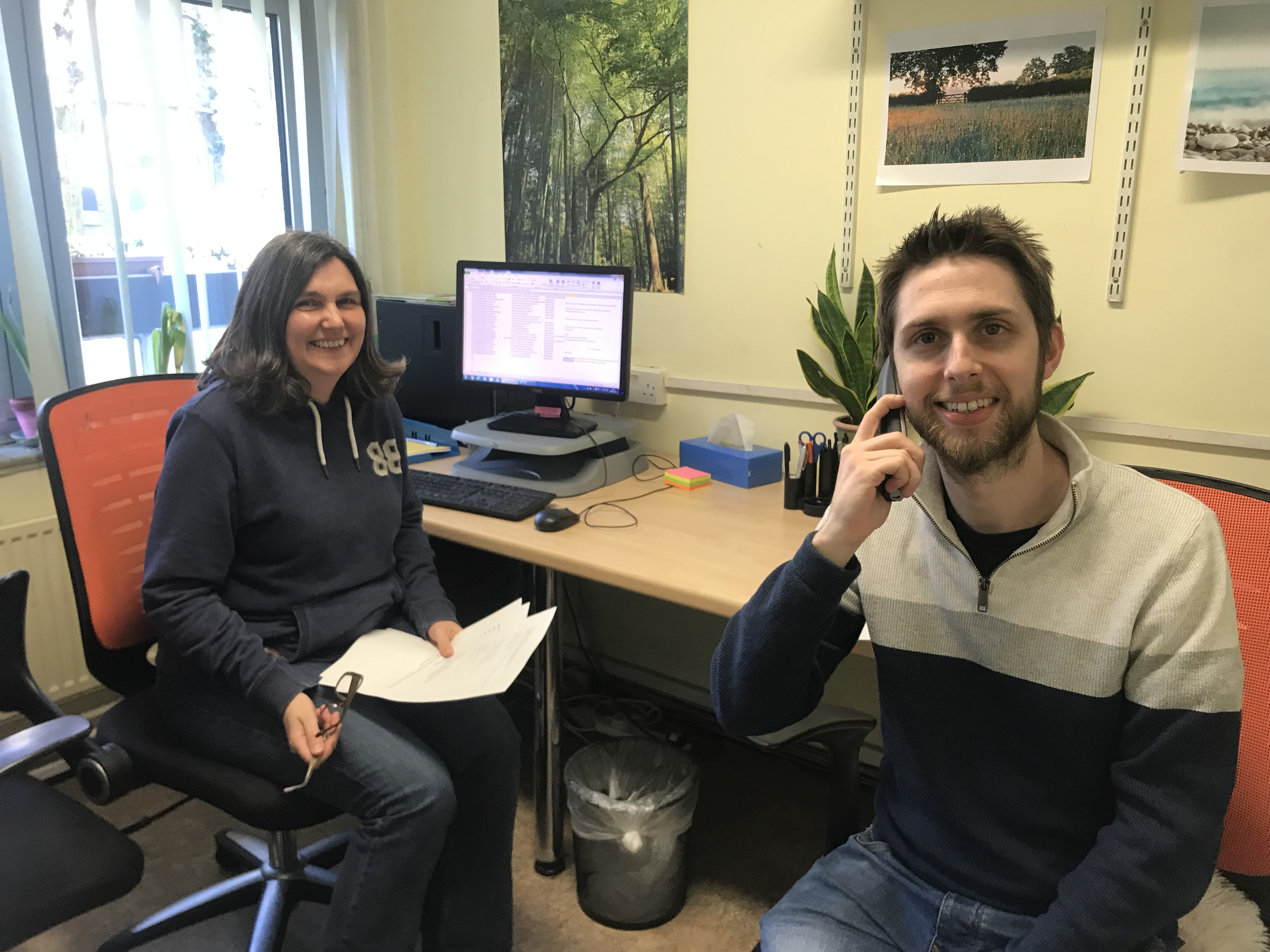 Photo of Kate Brolly and Ruairi O'Reilly at the Age UK Camden office